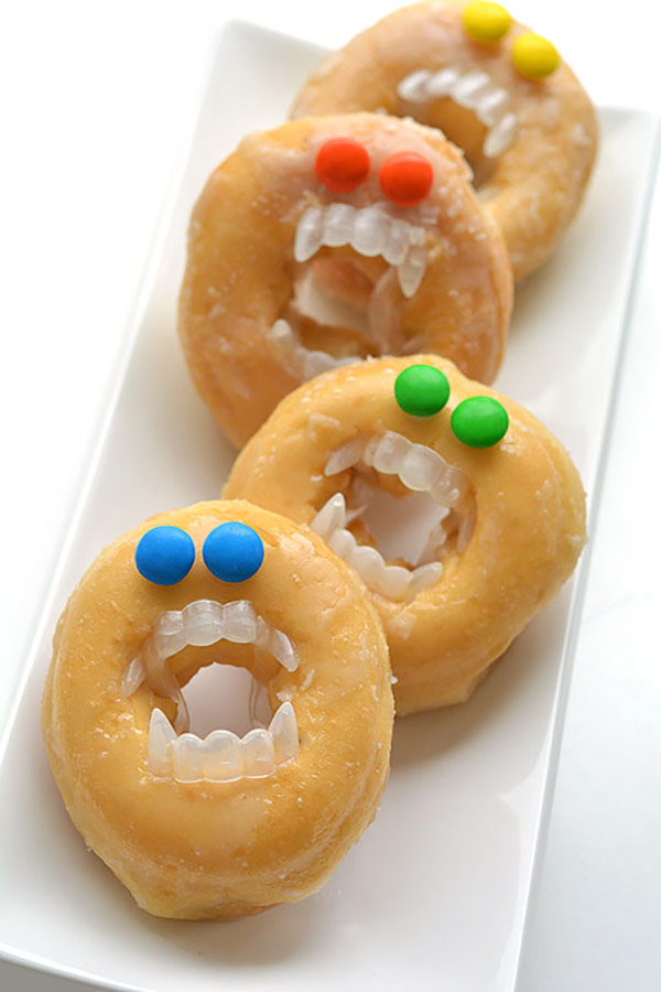 Monstor donuts as a part of 12 Halloween decor ideas