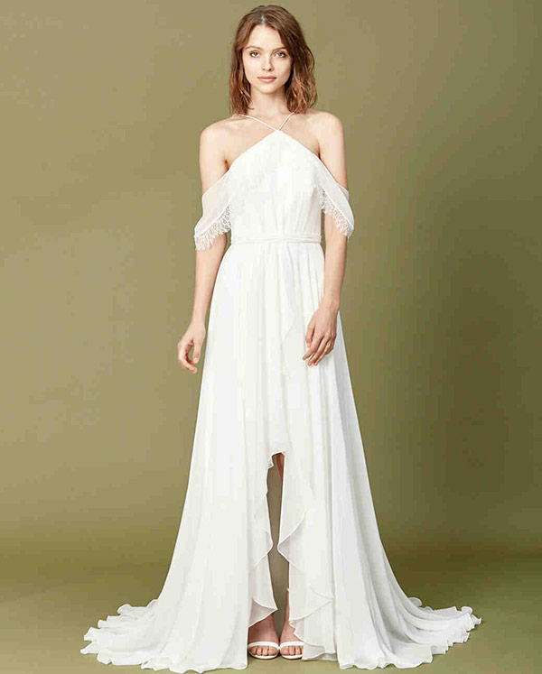 Off the shoulder wedding dress from the Amsale Christos bridal fashion week Fall 2017 collection