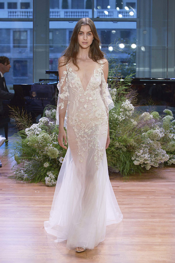 Sheer off the shoulder wedding dress from the Monique Lhuillier bridal fashion week Fall 2017 collection