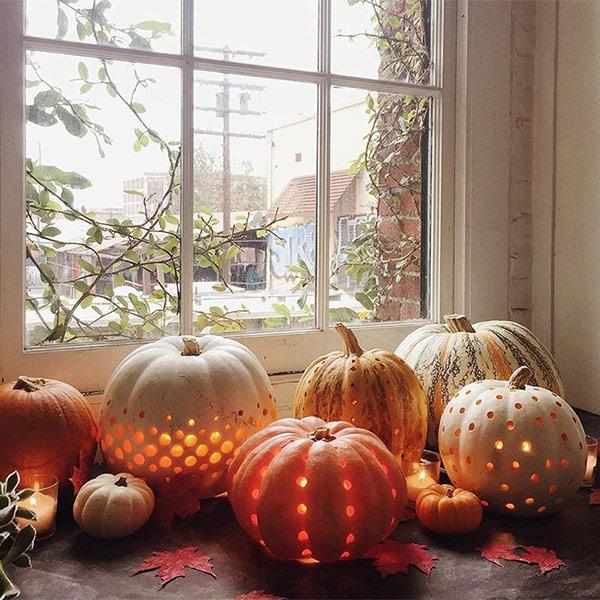 Polka dot pumpkins as a part of 12 Halloween decor ideas
