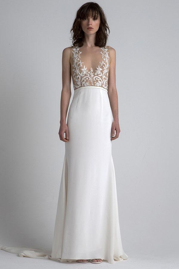 Sheer top sleek wedding dress from the Sachin and Babi bridal fashion week Fall 2017 collection
