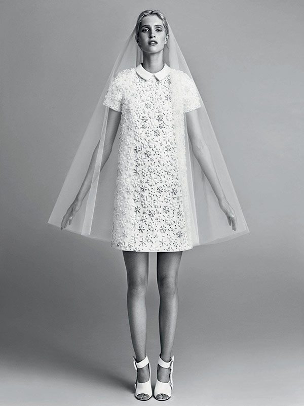 Short floral wedding dress from the Victor & Rolf bridal fashion week Fall 2017 collection