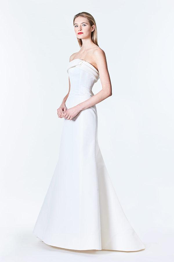 Strapless sleek wedding dress from the Carolina Herrera bridal fashion week Fall 2017 collection