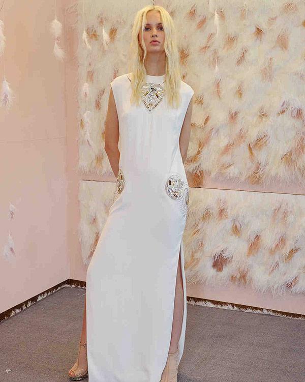 Metallic beaded wedding dress from the Galia Lahav bridal fashion week Fall 2017 collection