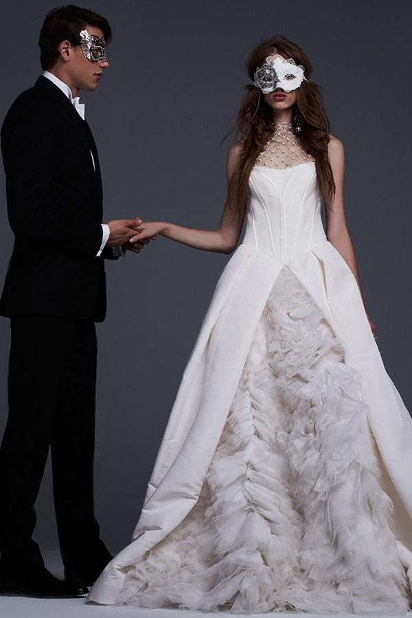 Non-traditional mixed wedding dress from the Vera Wang bridal fashion week Fall 2017 collection