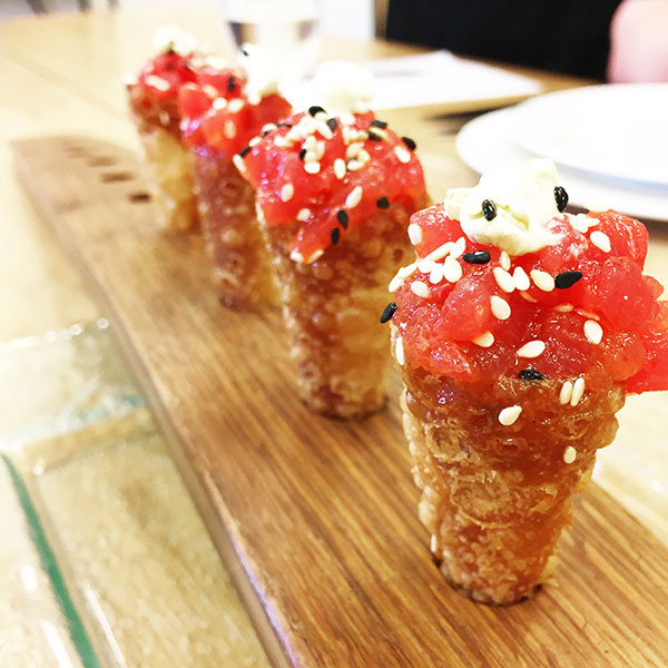 Ahi tuna cones served as a passed appetizer at destination wedding by Destination wedding planner, Mango Muse Events