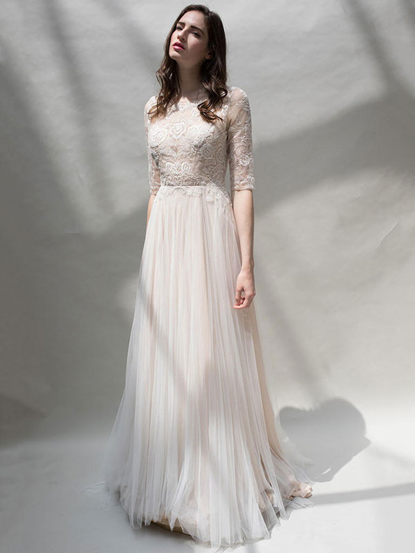 Nude lace and tulle wedding dress by Louvienne Spring 2018 Bridal