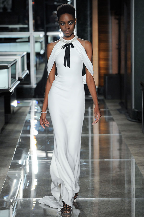 Black and white bow wedding dress by Reem Acra Spring 2018 Bridal