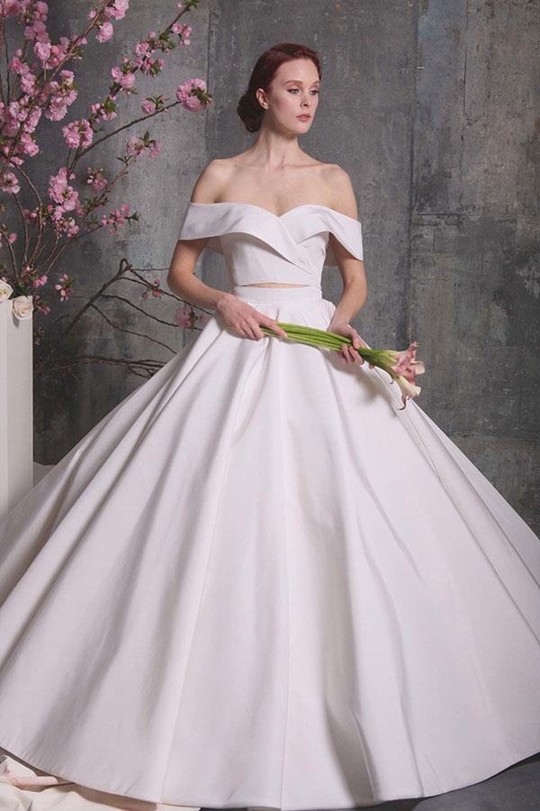Off the shoulder wedding dress by Christian Siriano Spring 2018 Bridal