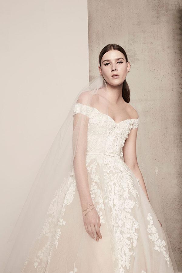 Off the shoulder wedding dress by Elie Saab Spring 2018 Bridal