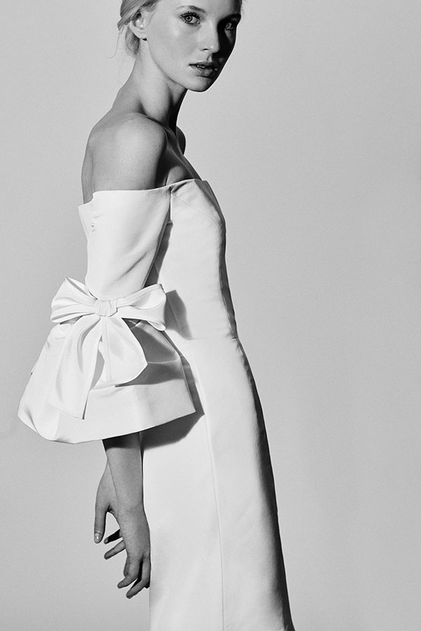Bow sleeve off the shoulder wedding dress by Carolina Herrera Spring 2018 Bridal