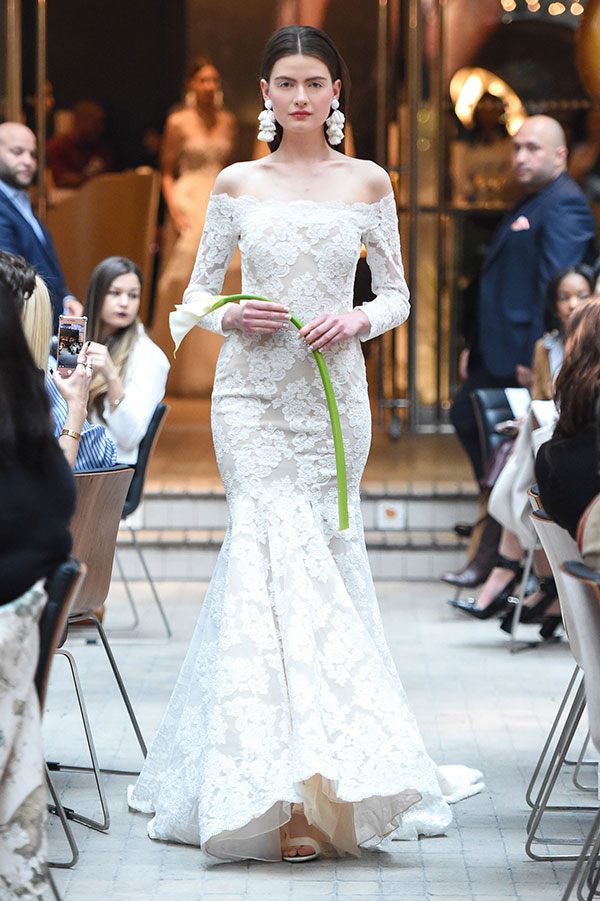 Lace off the shoulder wedding dress by Sachin and Babi Spring 2018 Bridal