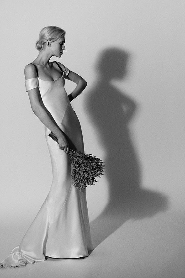 Sleek off the shoulder wedding dress by Carolina Herrera Spring 2018 Bridal