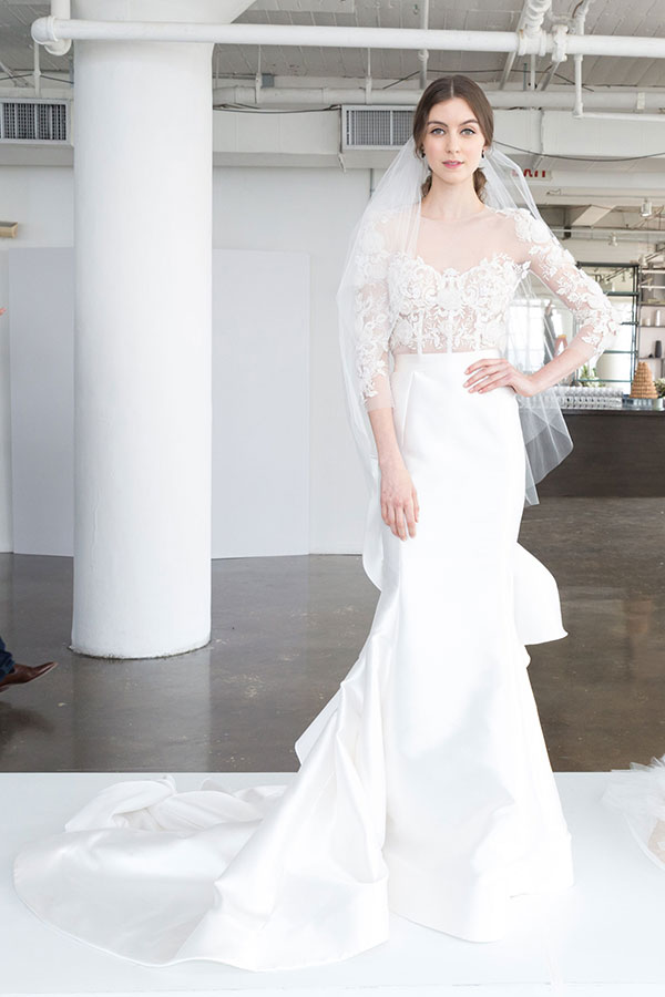 Structural and detailed wedding dress by Marchesa Spring 2018 Bridal