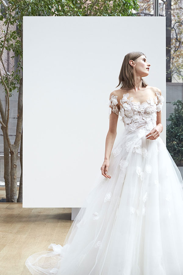 Tulle leaf and flower wedding dress by Oscar de la Renta Spring 2018 Bridal