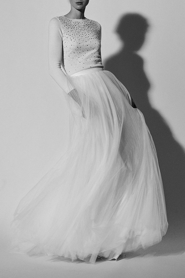 Tulle and sweater wedding dress by Carolina Herrera Spring 2018 Bridal
