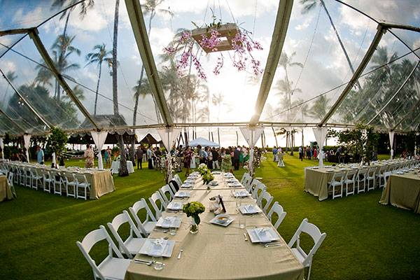 Wedding Reception Tent For A Hawaii Wedding By Destination Wedding Planner,  Mango Muse Events