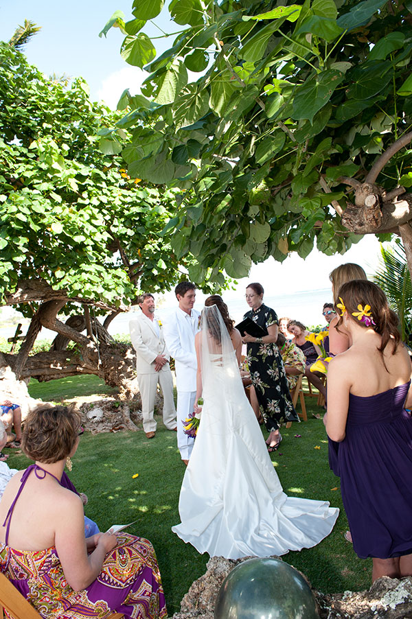 Wedding ceremony at a private estate in Hawaii by Destination wedding planner, Mango Muse Events