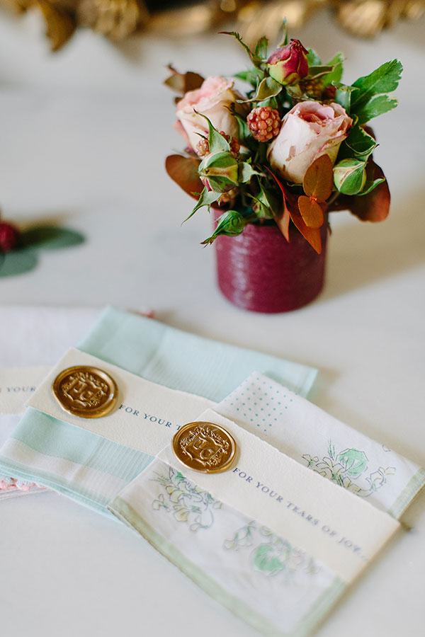 Vintage hankies for a French chateau destination wedding by Destination wedding planner, Mango Muse Events