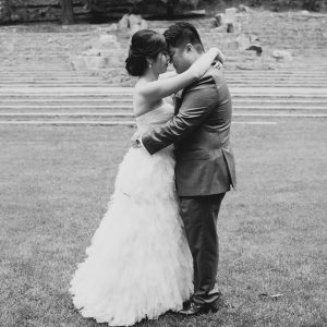 Bride and groom hugging and sharing an intimate moment at their San Francisco destination wedding by Destination wedding planner, Mango Muse Events