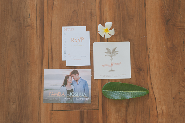 Casual invitation and save the date for a Hawaii wedding by Destination wedding planner, Mango Muse Events
