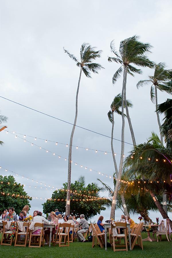 Private estate destination wedding reception in Hawaii by destination wedding planner, Mango Muse Events