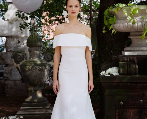 Off the shoulder wedding dress by Lela Rose Fall 2018 Bridal