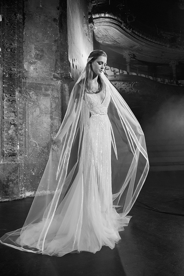 Deep V wedding dress by Elie Saab Fall 2018 Bridal