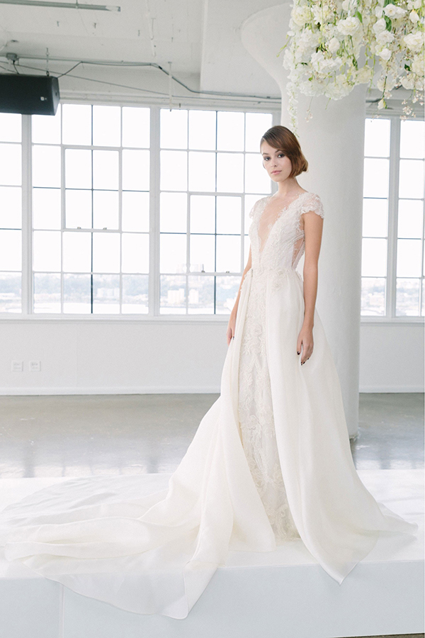 Deep V wedding dress by Marchesa Fall 2018 Bridal