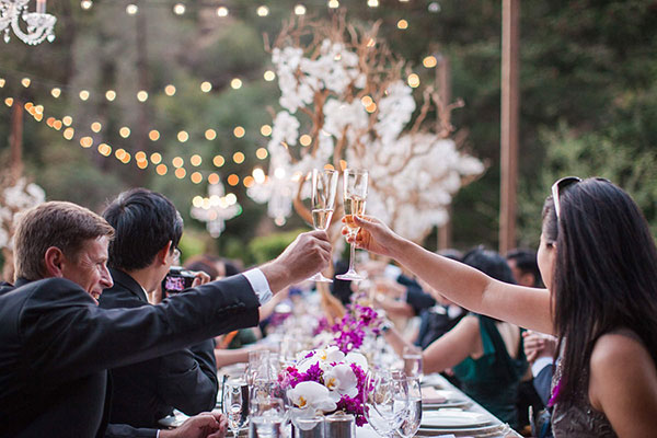 Wedding guests toasting the bride and groom during dinner at a Calistoga destination wedding by Destination wedding planner, Mango Muse Events