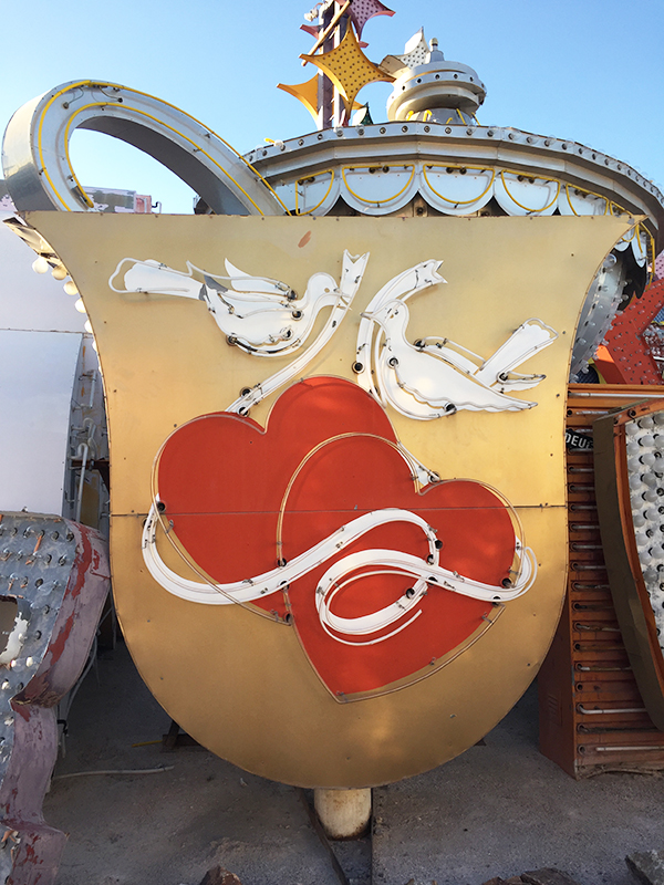 A old neon sign with hearts and doves from the Neon Museum in Las Vegas