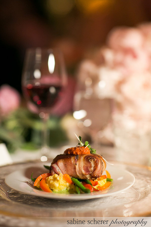 Panchetta wrapped sea bass entree for an elegant San Francisco Wedding by Destination wedding planner, Mango Muse Events