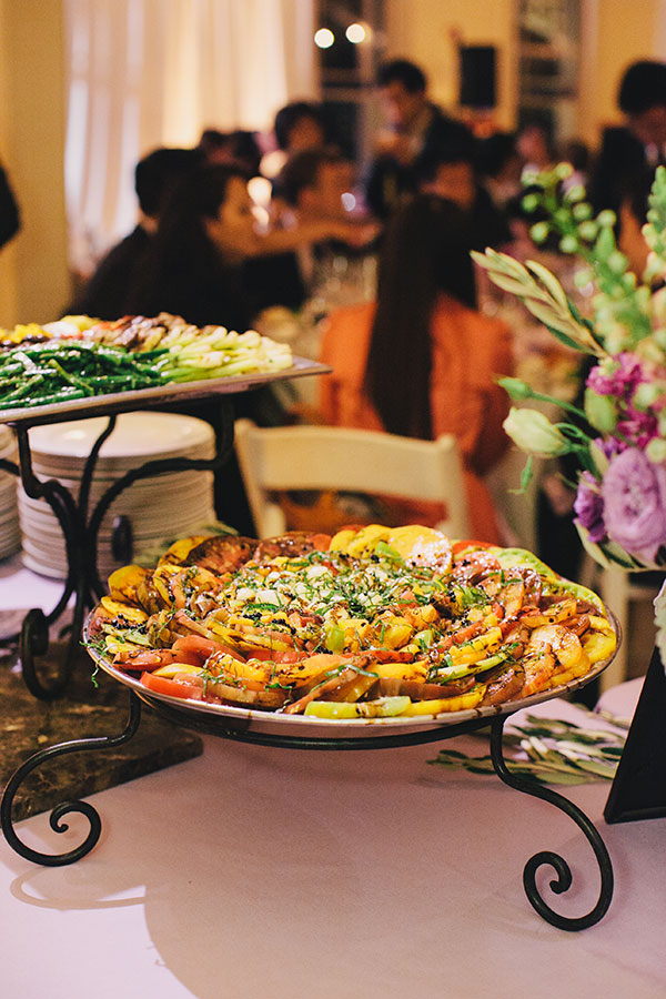 Roasted veggies on a wedding buffet for a San Francisco destination wedding by Destination wedding planner, Mango Muse Events