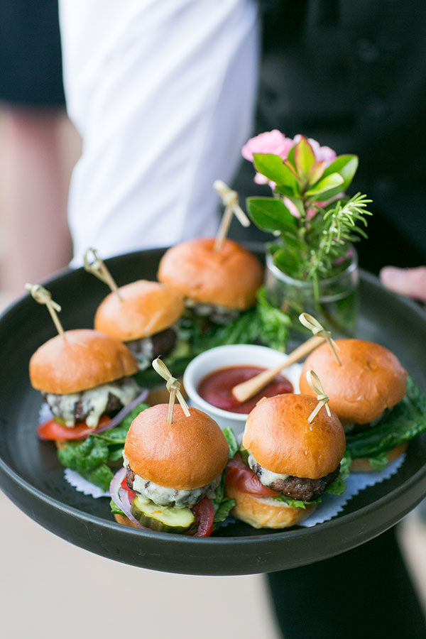 Sliders served as a late night snack for a Carmel destination wedding by Destination wedding planner, Mango Muse Events