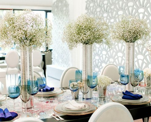 Babys breath centerpieces for a Conservatory of Flowers wedding in San Francisco by Destination wedding planner Mango Muse Events