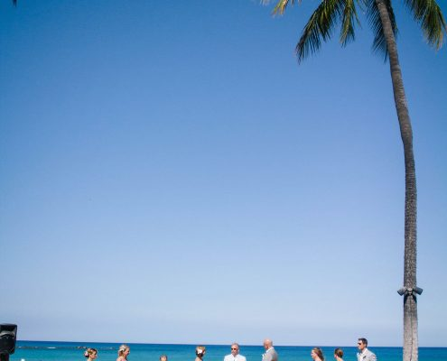 Beachside wedding ceremony at a Big Island Hawaii destination wedding by Destination wedding planner Mango Muse Events