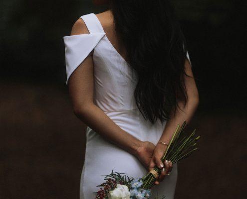 White green blue bridal bouquet at a Vancouver destination wedding by Destination wedding planner Mango Muse Events