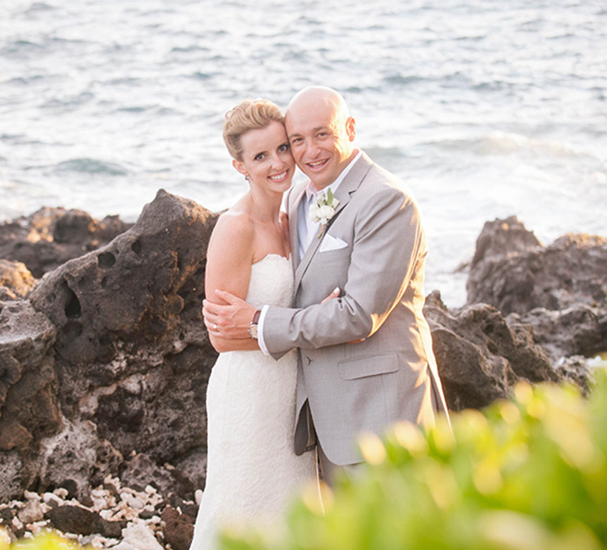 Bride and groom Big Island Hawaii wedding by Destination wedding planner Mango Muse Events