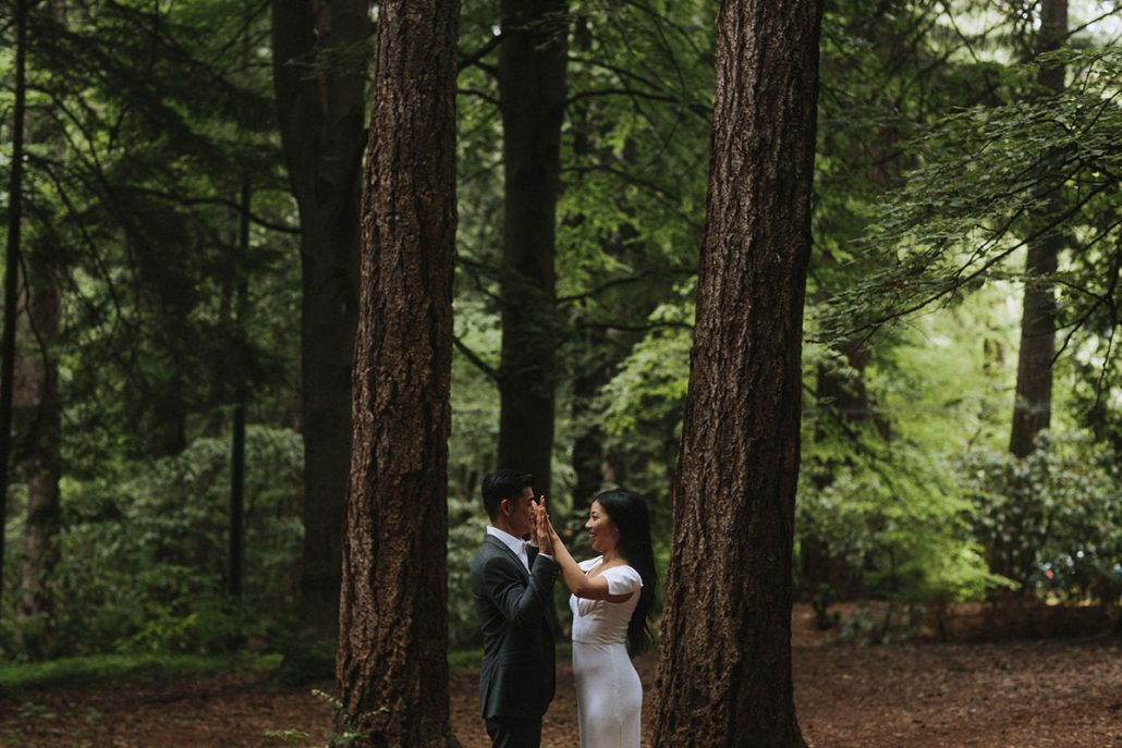 Bride and groom in the forest at their Vancouver destination wedding by Destination wedding planner Mango Muse Events