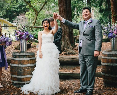 Bride and groom celebrate being married at their San Francisco destination wedding by Destination wedding planner Mango Muse Events
