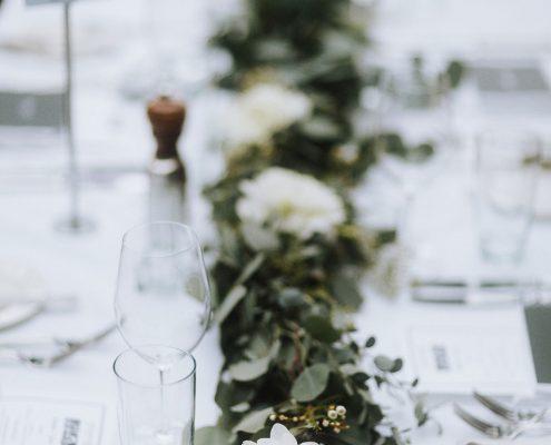 Garland centerpiece at a Vancouver destination wedding by Destination wedding planner Mango Muse Events