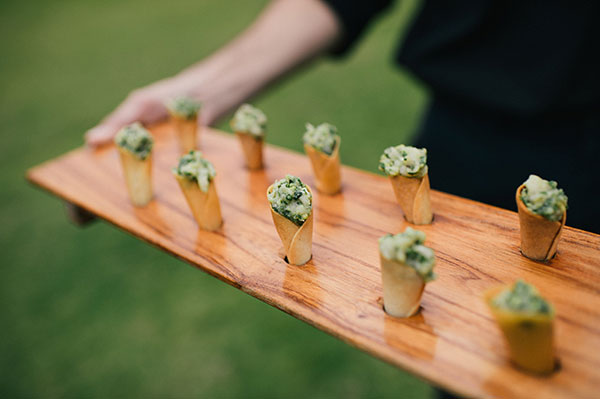 Hamachi cone appetizers served at a Hawaii destination wedding by Destination wedding planner, Mango Muse Events