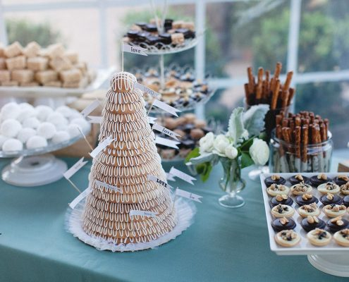 Kransekage wedding cake and dessert bar for a Sonoma destination wedding by Destination wedding planner Mango Muse Events