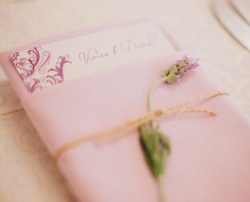Tied napkin and menu with lavender at a San Francisco destination wedding by Destination wedding planner Mango Muse Events