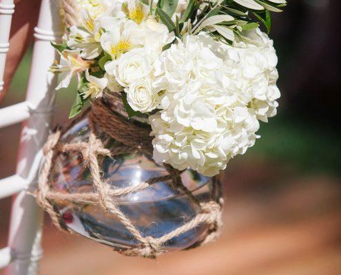 Nautical ceremony florals at a Big Island Hawaii destination wedding by Destination wedding planner Mango Muse Events
