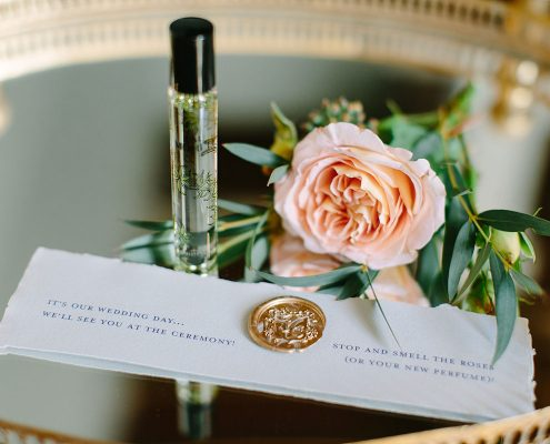 Perfume as a welcome gift for a France Chateau wedding by Destination wedding planner Mango Muse Events