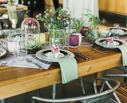 Science inspired wedding table at the Exploratorium in San Francisco by Destination wedding planner Mango Muse Events