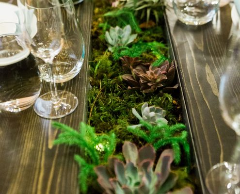 Succulents and moss wedding centerpiece at a San Francisco wedding by Destination wedding planner Mango Muse Events