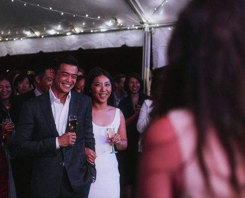 Bride and groom enjoying their toasts at their Vancouver destination wedding by Destination wedding planner Mango Muse Events