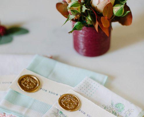 Vintage handkerchiefs at a France chateau wedding by Destination wedding planner Mango Muse Events